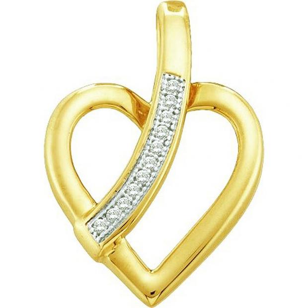 0.03 Carat (ctw) 10k Yellow Gold White Diamond Ladies Heart Pendant