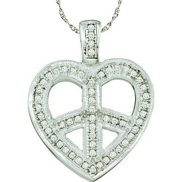 0.15 Carat (ctw) 10k White Gold Round Diamond Ladies Heart Pendant