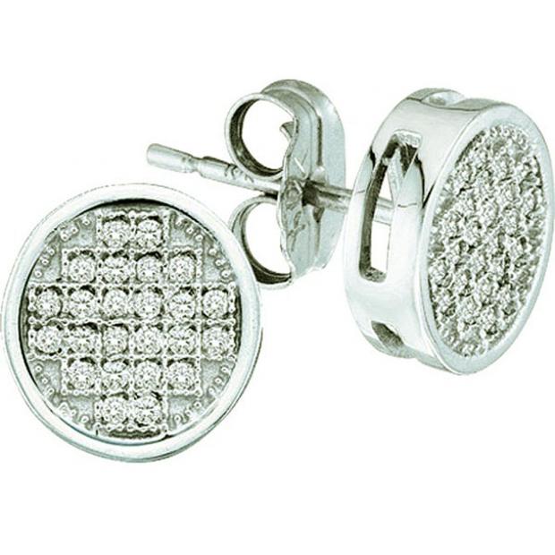 0.05 Carat (ctw) 10k White Gold Round Diamond Ladies Micro Pave Setting Circle Shape Stud Earrings