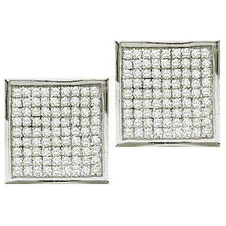 0.05 Carat (ctw) 10k White Gold Round Diamond Ladies Micro Pave Setting Square Shape Stud Earrings