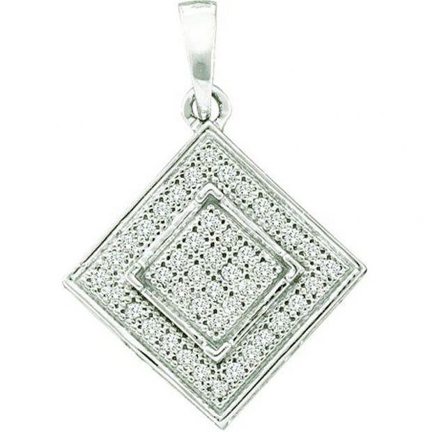 0.12 Carat (ctw) 10k White Gold Brilliant White Diamond Ladies Micro Pave Square Shape Pendant