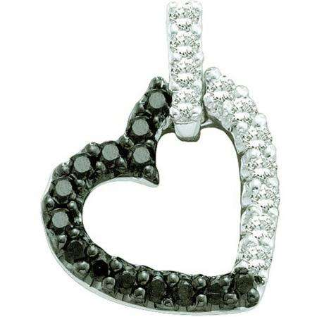 0.26 Carat (ctw) 14k White Gold Black & White Diamond Ladies Heart Pendant