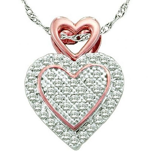 0.15 Carat (ctw) 10k White & Rose Gold White Diamond Ladies Two Tone Micro Pave Heart Pendant