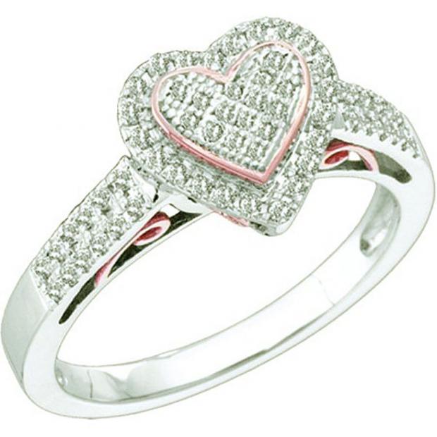 0.30 Carat (ctw) 10k White Gold Brilliant White Diamond Ladies Two Tone Heart Promise Ring