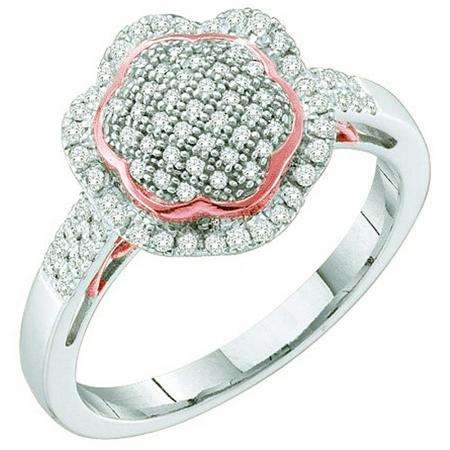 0.33 Carat (ctw) 10k White Gold Round White Diamond Ladies Micro Pave Two Tone Bridal Engagement Ring