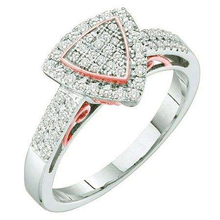0.33 Carat (ctw) 10k White & Rose Gold Brilliant White Diamond Ladies Two Tone Micro Pave Engagement Ring