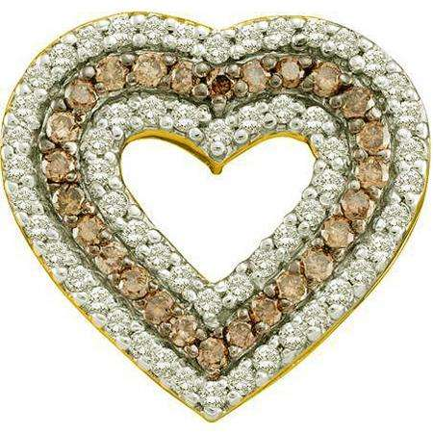 0.76 Carat (ctw) 14k Yellow Gold Round Brown & White Diamond Ladies Heart Pendant