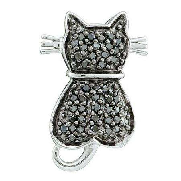0.25 Carat (ctw) 14k White Gold Black Diamond Ladies Cat Pendant