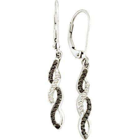 0.32 Carat (ctw) 14k White Gold Black & White Diamond Ladies Dangling Drop Earring