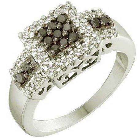 0.53 Carat (ctw) 14k White Gold Round Black & White Diamond Ladies Cocktail Fashion Ring