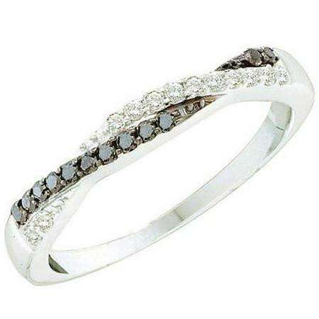 0.25 Carat (ctw) 14k White Gold Black & White Diamond Ladies Swirl Anniversary Wedding Band