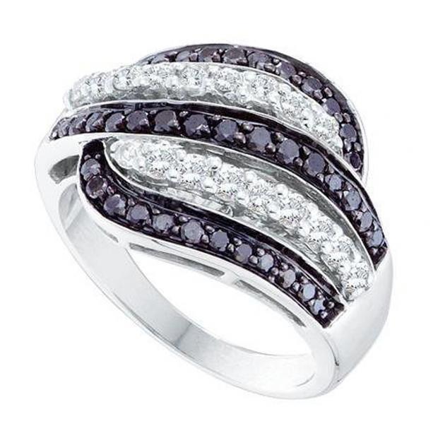 1.00 Carat (ctw) 14k White Gold Round Black & White Diamond Ladies Right Hand Fashion Band