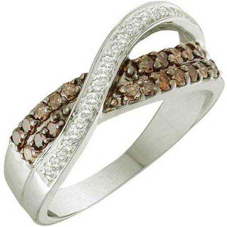0.49 Carat (ctw) 14k White Gold Round Champagne & White Diamond Swirl Fashion Band
