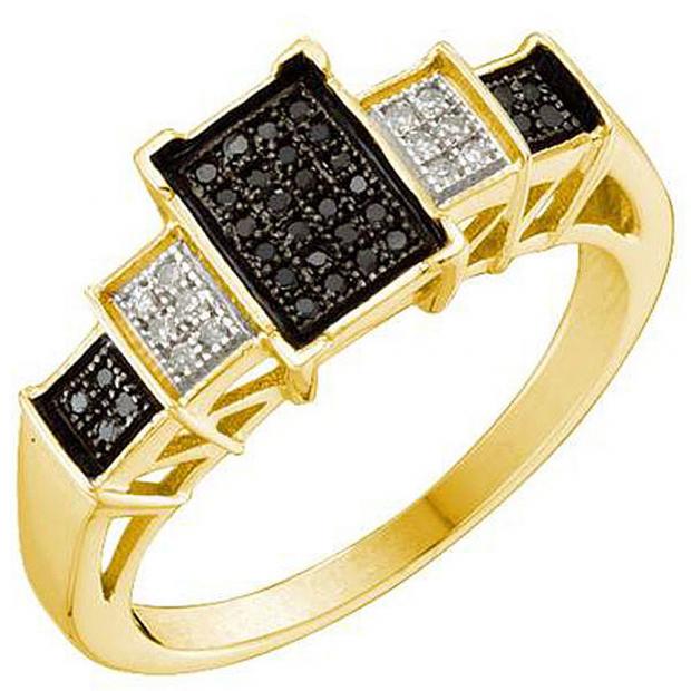 0.15 Carat (ctw) 10k Yellow Gold Black & White Diamond Ladies Past Present Future Engagement Ring