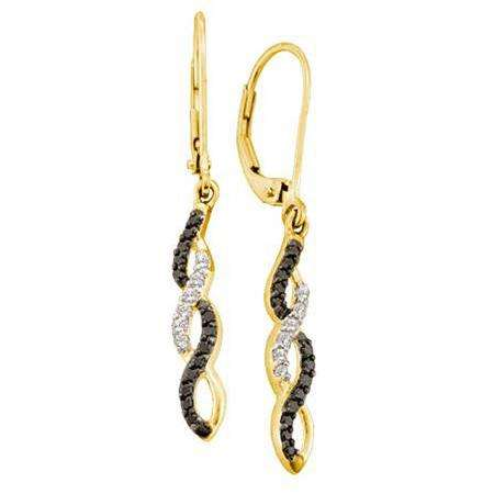 0.32 Carat (ctw) 14k Yellow Gold Black & White Diamond Ladies Dangling Drop Earrings