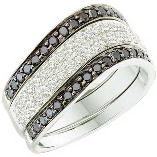 0.75 Carat (ctw) 10k White Gold Round Black & White Diamond Ladies Fashion Right Hand Ring
