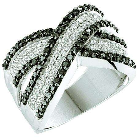 1.25 Carat (ctw) 14k White Gold Round Black & White Diamond Ladies Swirl Right Hand Fashion Band