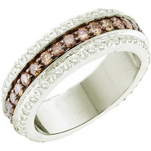 1.43 Carat (ctw) 14k White Gold Round White & Brown Diamond Ladies Fashion Wedding Band