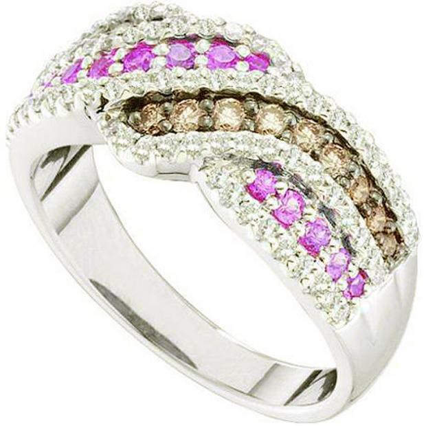 0.89 Carat (ctw) 14k White Gold Round White Brown & Pink Diamond Ladies Fashion Right Hand Ring