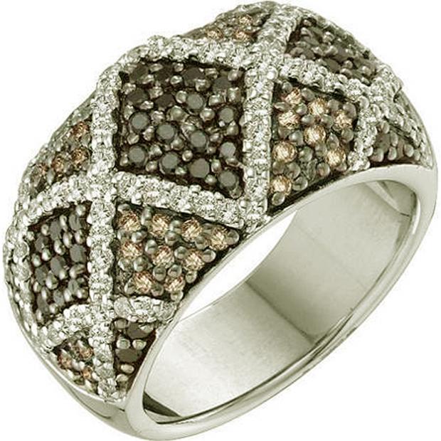 1.50 Carat (ctw) 14k White Gold Round White Brown & Black Diamond Ladies Right Hand Fashion Band