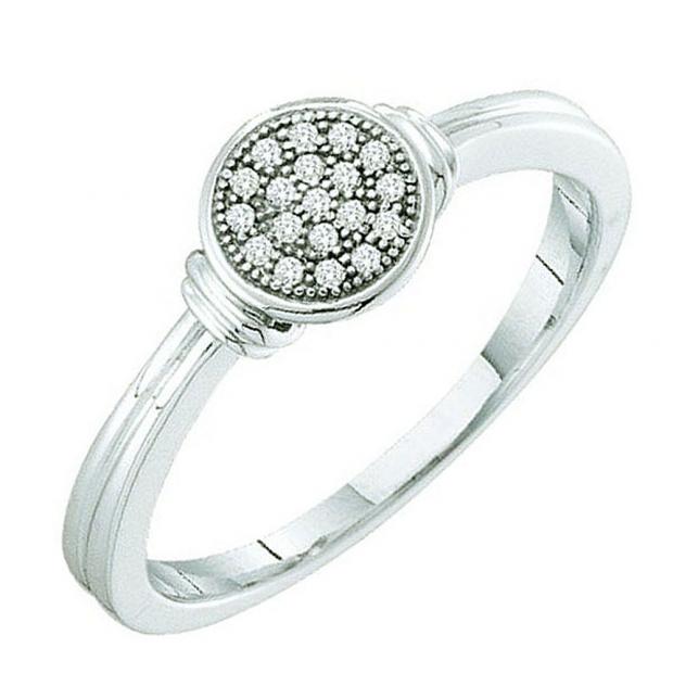 0.05 Carat (ctw) 10k White Gold Round Diamond Micro Pave Ladies Bridal Engagement Ring