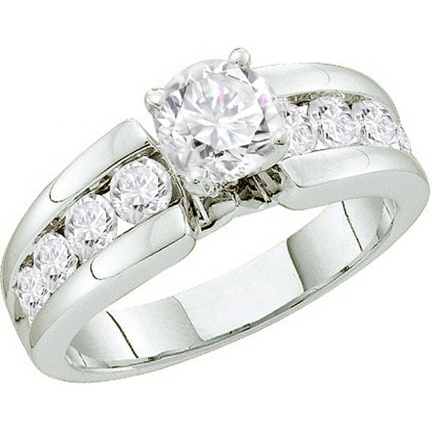 1.75 Carat (ctw) 14k White Gold Brilliant Round White Diamond Ladies Bridal Engagement Ring