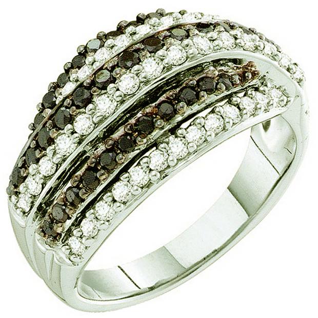 0.99 Carat (ctw) 14k White Gold Round White & Black Diamond Ladies Fashion Right Hand Band Ring