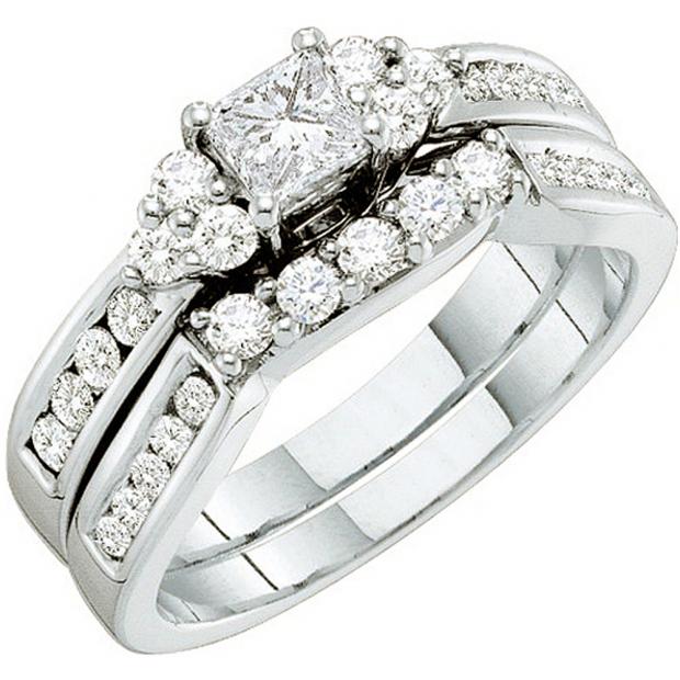 1.00 Carat (ctw) 14k White Gold Round & Princess Cut White Diamond Ladies Bridal Engagement Ring Set