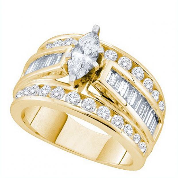 2.00 Carat (ctw) 14k Yellow Gold Round Baguette & Marquise Cut White Diamond Ladies Bridal Engagement Ring 2 CT