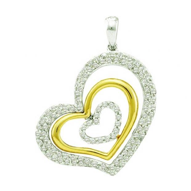 0.50 Carat (ctw) 14k White Gold Round Brilliant White Diamond Ladies 2 Tone Heart Pendant