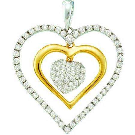 0.51 Carat (ctw) 14k White Gold Round White Diamond Ladies Two Tone Double Heart Pendant