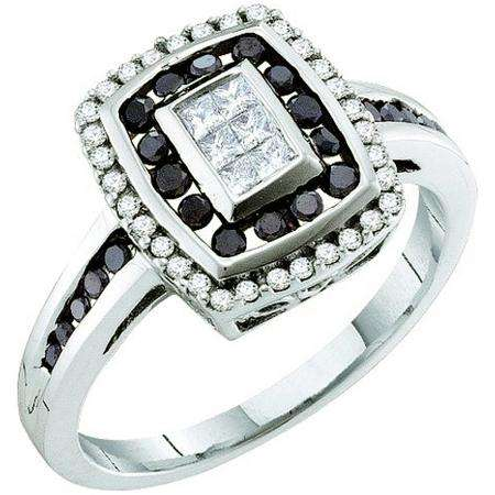 0.50 Carat (ctw) 14k White Gold Round & Princess Cut Black & White Diamond Ladies Right Hand Invisible Ring