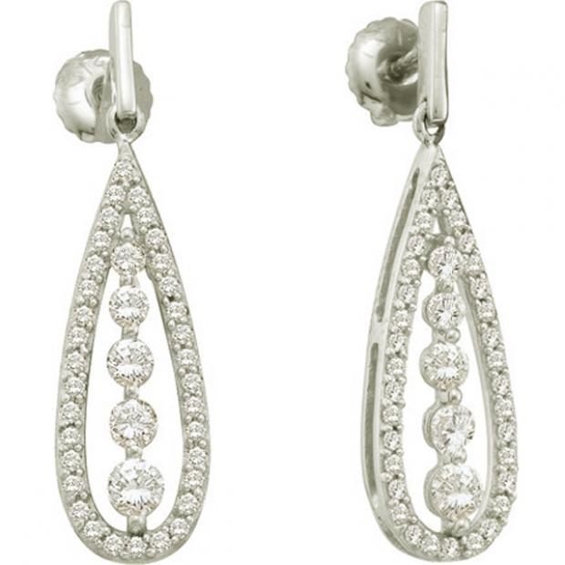 0.75 Carat (ctw) 14k White Gold Round White Diamond Ladies Vintage Style Fashion Dangling Drop Earrings
