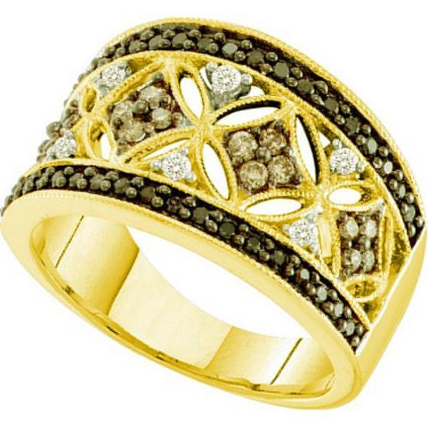 0.50 Carat (ctw) 14k Yellow Gold Round White Brown & Black Diamond Ladies Right Hand Fashion Band