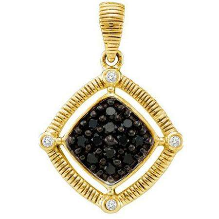 0.22 Carat (ctw) 14k Yellow Gold Round Black & White Diamond Ladies Pendant