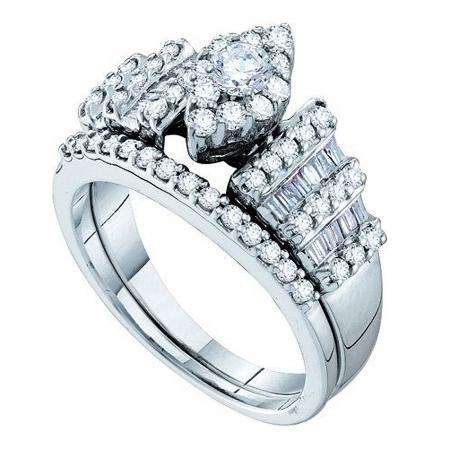 1.03 Carat (ctw) 14k White Gold Round & Baguette White Diamond Ladies Bridal Engagement Ring Set