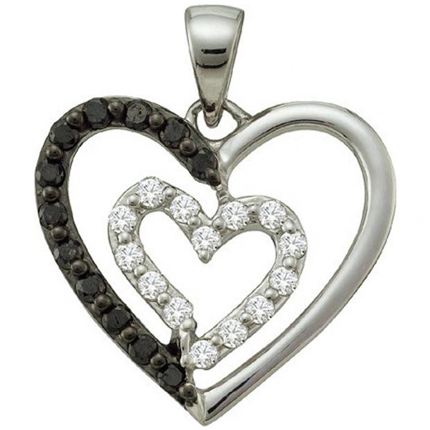 0.48 Carat (ctw) 14k White Gold Round Black & White Diamond Ladies Double Heart Pendant