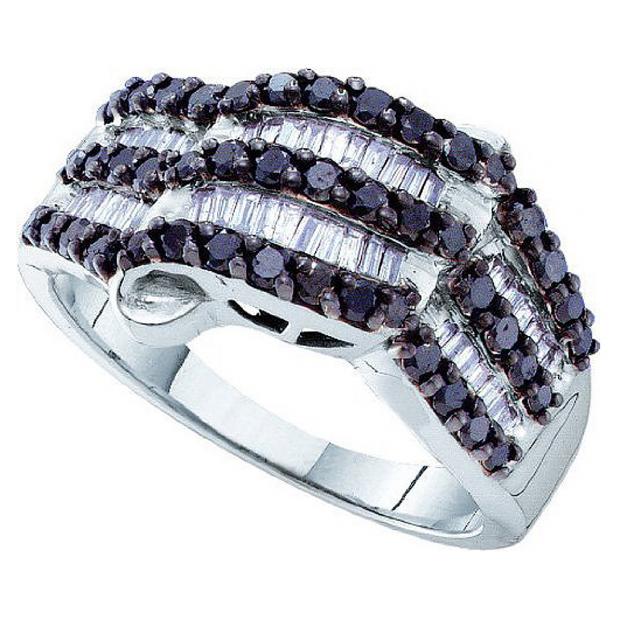 0.98 Carat (ctw) 14k White Gold Round & Baguette Cut Black & White Diamond Ladies Right Hand Fashion Band