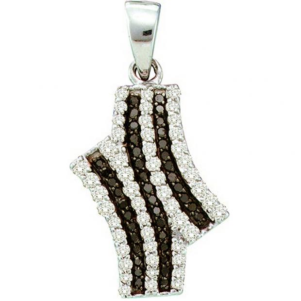 0.47 Carat (ctw) 10k White Gold Black & White Diamond Ladies Pendant