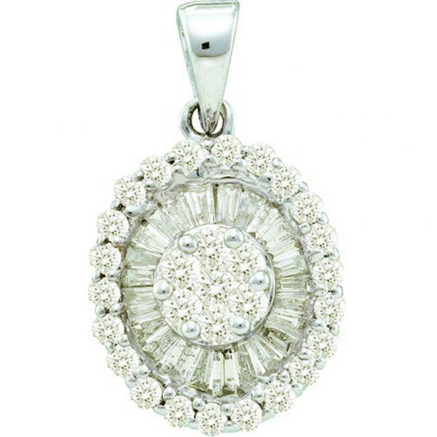 0.86 Carat (ctw) 14k White Gold Brilliant White Diamond Ladies Cluster Flower Pendant