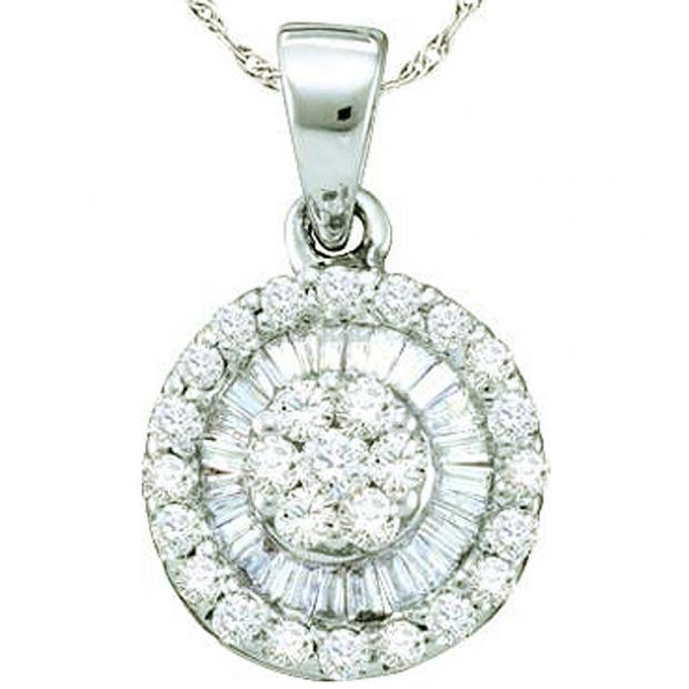 0.59 Carat (ctw) 14k White Gold Round & Baguette Cut White Diamond Ladies Flower Pendant