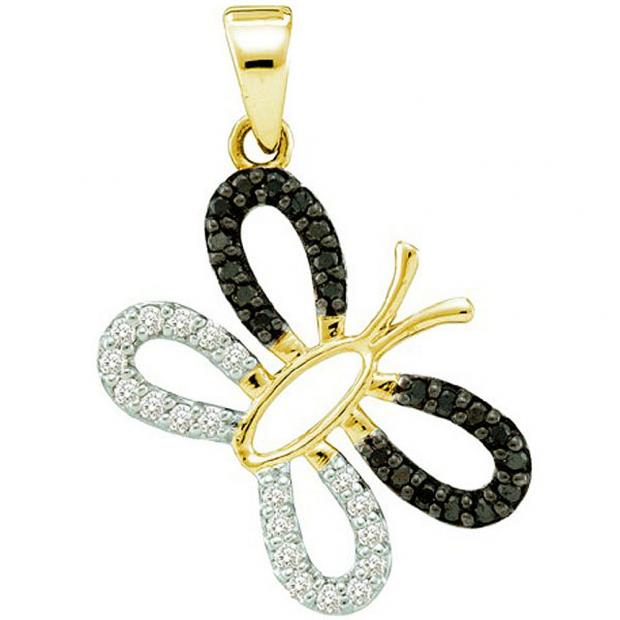 0.27 Carat (ctw) 14k Yellow Gold Black & White Diamond Ladies Butterfly Pendant