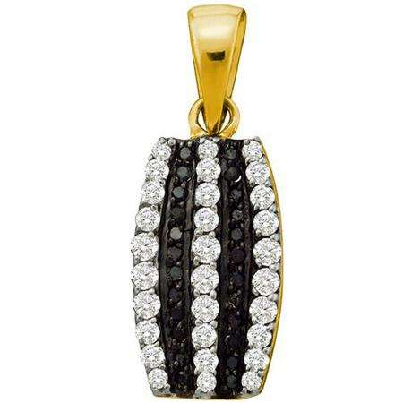 0.39 Carat (ctw) 10k Yellow Gold Round Black & White Diamond Ladies Pendant