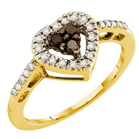 0.32 Carat (ctw) 14k Yellow Gold Round Black & White Diamond Ladies Bridal Heart Promise Ring