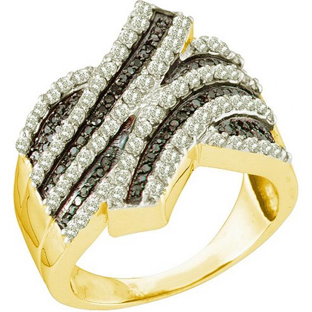 1.03 Carat (ctw) 10k Yellow Gold Round Black & White Diamond Ladies Right Hand Fashion Band