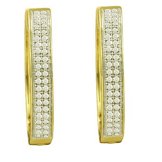 0.25 CT 10k Yellow Gold Round Diamond Micro Pave Hoop Earrings