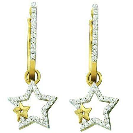0.25 Carat (ctw) 10k Yellow Gold Brilliant White Diamond Ladies Star Shape Dangling Drop Earrings