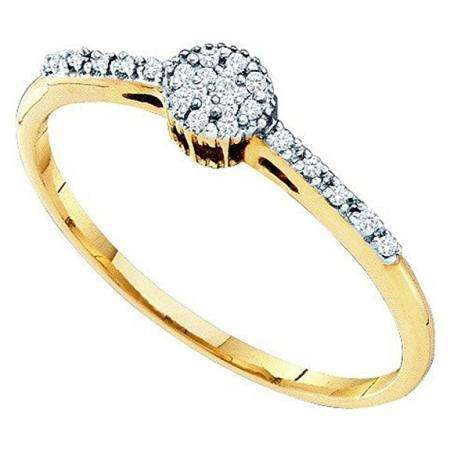 0.06 Carat (ctw) 10k Yellow Gold Brilliant White Diamond Ladies Engagement Ring