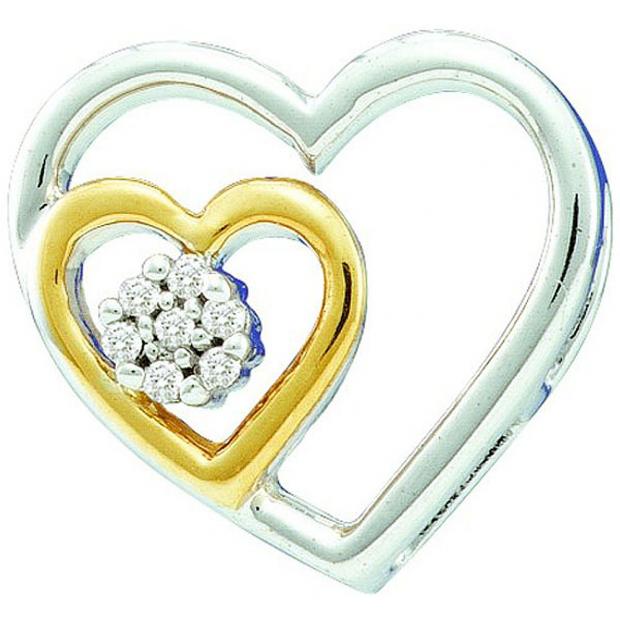0.03 Carat (ctw) 10k White Gold Brilliant White Diamond Ladies Two Tone Double Heart Pendant
