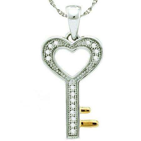 0.05 Carat (ctw) 10k White Gold Round White Diamond Ladies Heart Key Pendant
